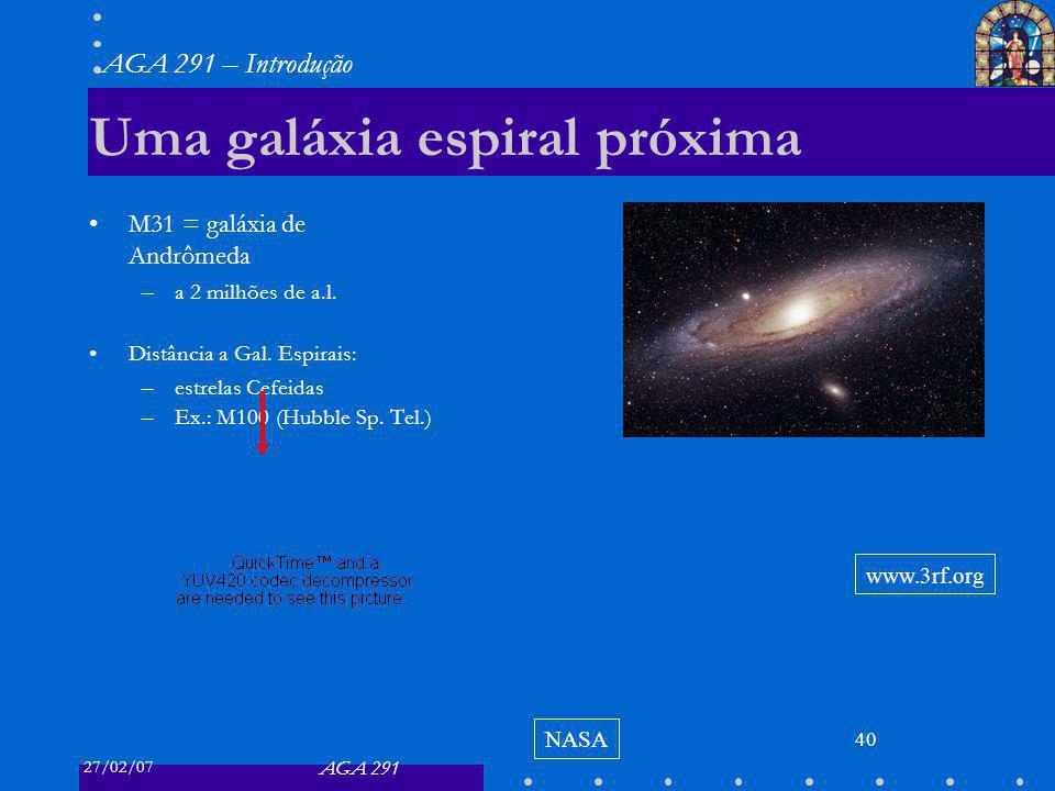 27/02/07 AGA 291 AGA 291 – Introdução 40 Uma galáxia espiral próxima M31 = galáxia de Andrômeda –a 2 milhões de a.l. Distância a Gal. Espirais: –estre