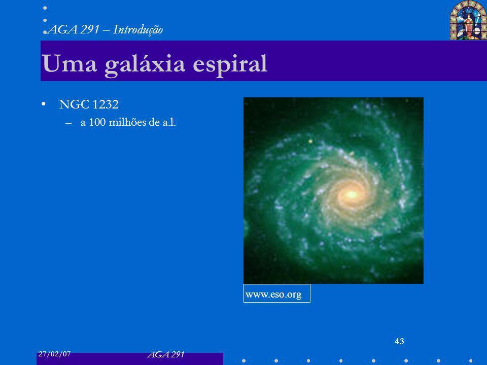 27/02/07 AGA 291 AGA 291 – Introdução 43 Uma galáxia espiral NGC 1232 –a 100 milhões de a.l. www.eso.org