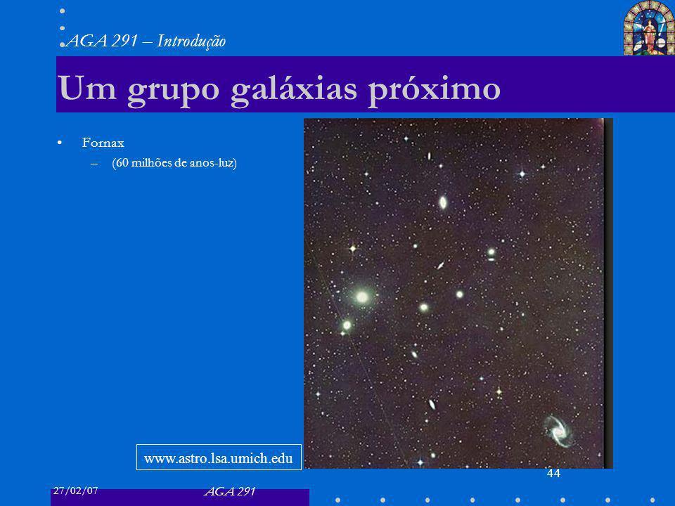 27/02/07 AGA 291 AGA 291 – Introdução 44 Um grupo galáxias próximo Fornax –(60 milhões de anos-luz) www.astro.lsa.umich.edu