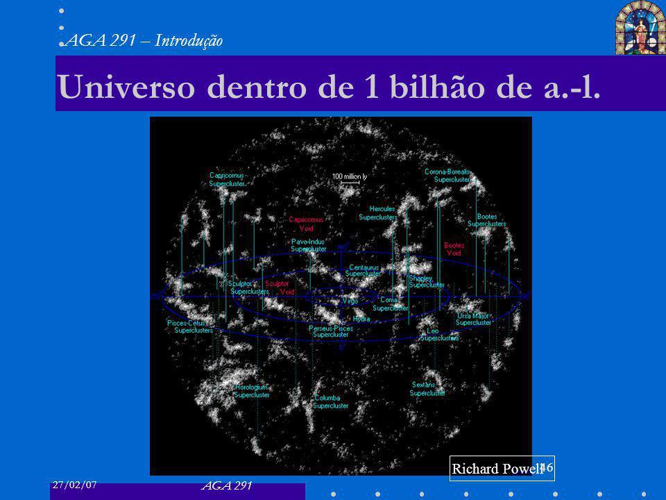27/02/07 AGA 291 AGA 291 – Introdução 46 Universo dentro de 1 bilhão de a.-l. Richard Powell