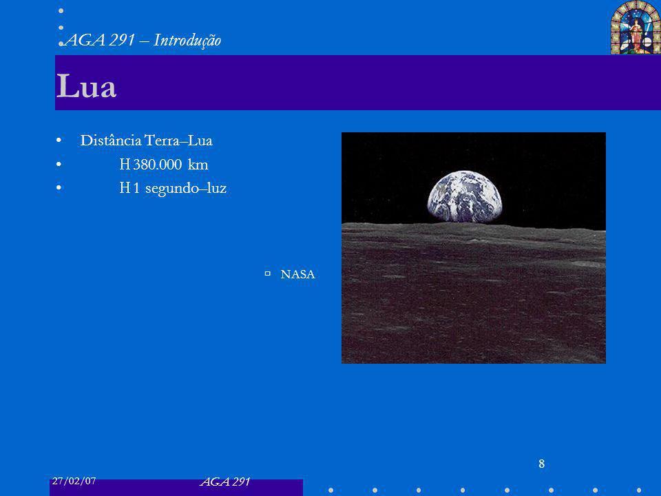 27/02/07 AGA 291 AGA 291 – Introdução 8 Lua Distância Terra–Lua 380.000 km 1 segundo–luz NASA