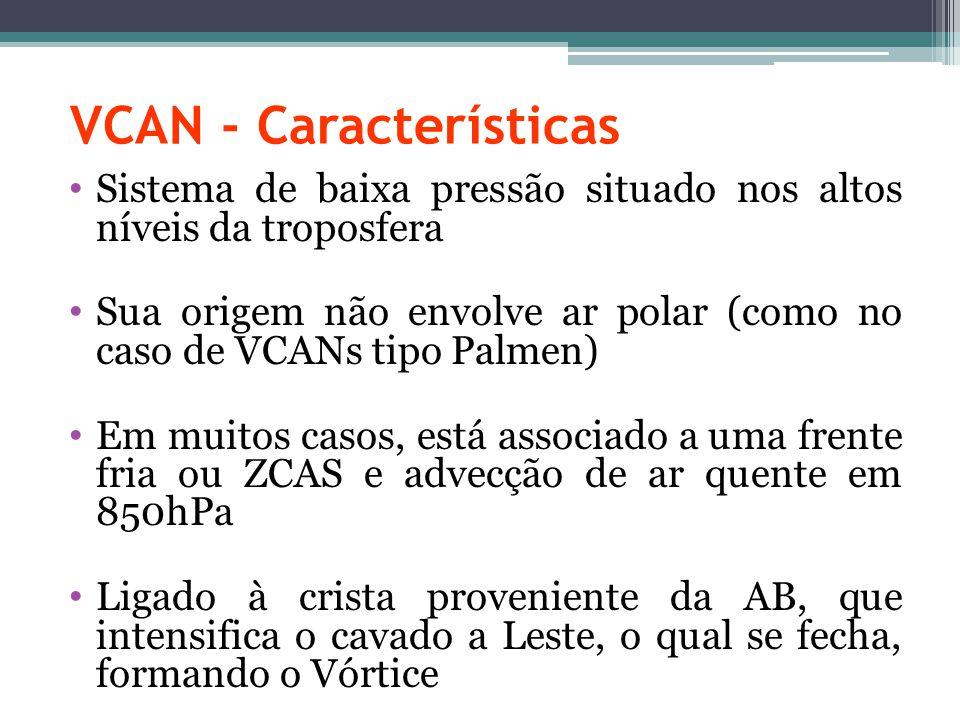 VCAN - Características Sistema de baixa pressão situado nos altos níveis da troposfera Sua origem não envolve ar polar (como no caso de VCANs tipo Pal