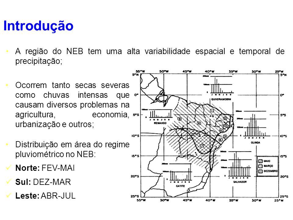 A região do NEB tem uma alta variabilidade espacial e temporal de precipitação; Ocorrem tanto secas severas como chuvas intensas que causam diversos p