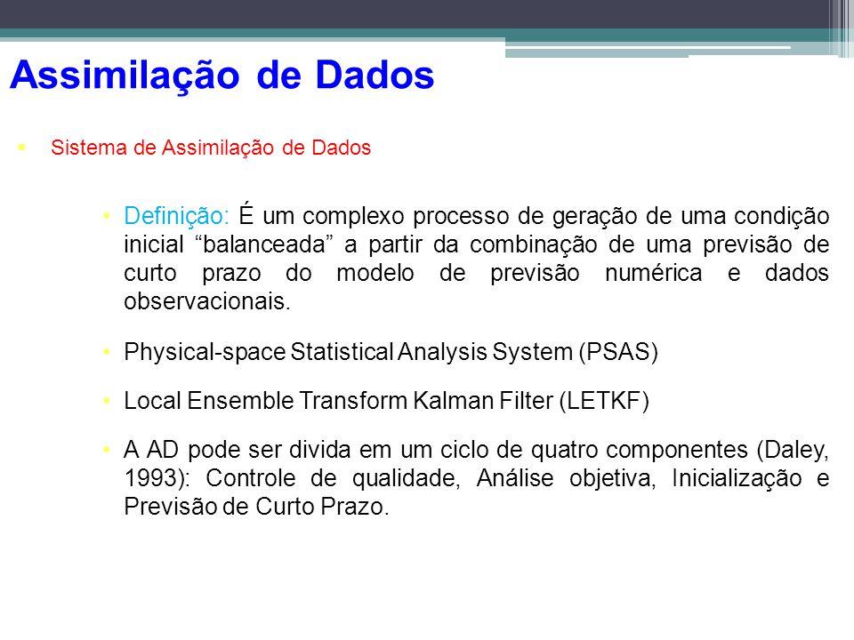 Assimilação de Dados Sistema de Assimilação de Dados Definição: É um complexo processo de geração de uma condição inicial balanceada a partir da combi
