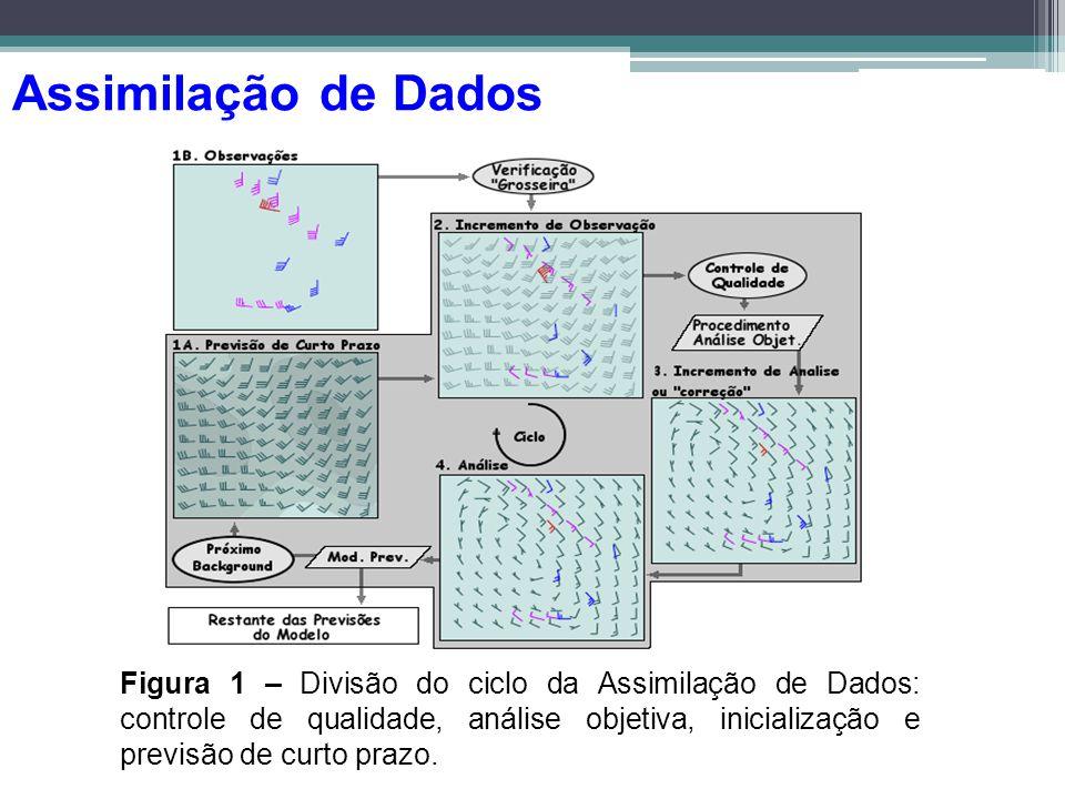 Figura 1 – Divisão do ciclo da Assimilação de Dados: controle de qualidade, análise objetiva, inicialização e previsão de curto prazo. Assimilação de