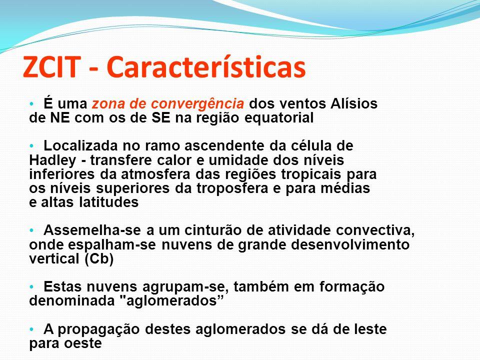 Identificação da ZCIT Imagens de Satélite; Linhas de Corrente (baixos níveis); Pressão ao nível médio do mar; Radiação de Onda Longa; Temperatura da Superfície do Mar...