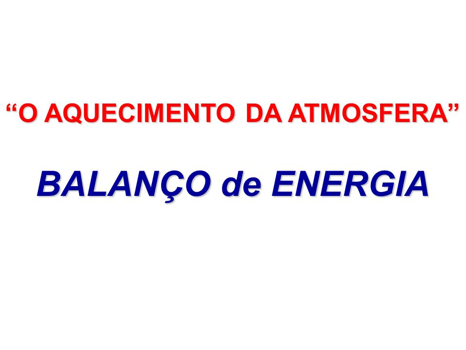 O AQUECIMENTO DA ATMOSFERA BALANÇO de ENERGIA