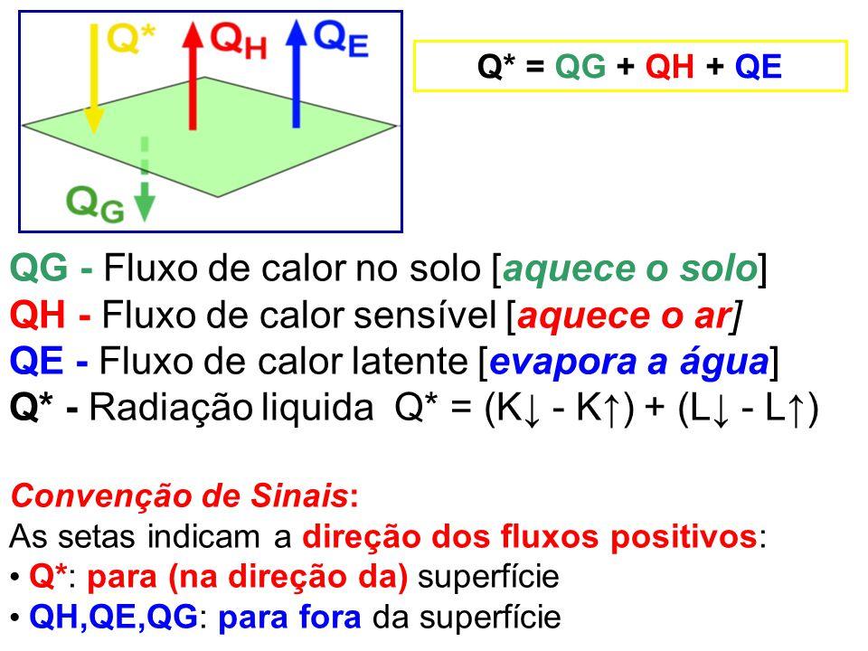 QG - Fluxo de calor no solo [aquece o solo] QH - Fluxo de calor sensível [aquece o ar] QE - Fluxo de calor latente [evapora a água] Q* - Radiação liqu