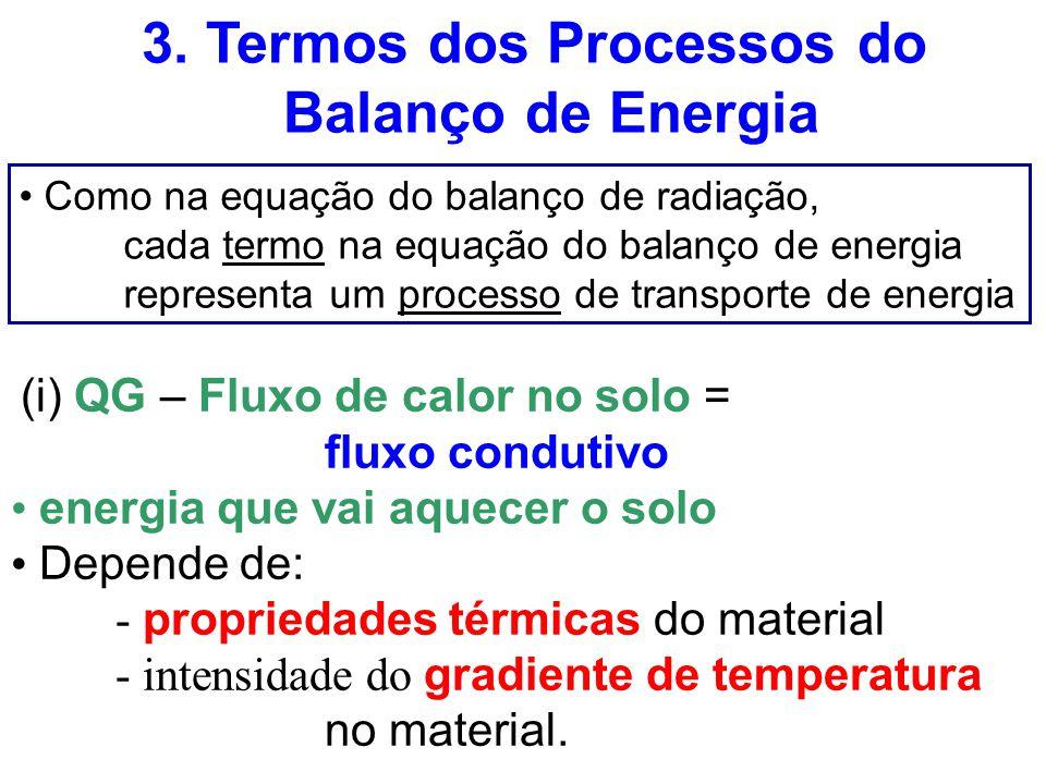 3. Termos dos Processos do Balanço de Energia Como na equação do balanço de radiação, cada termo na equação do balanço de energia representa um proces