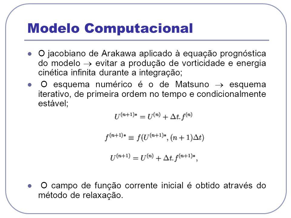 Modelo Computacional O jacobiano de Arakawa aplicado à equação prognóstica do modelo evitar a produção de vorticidade e energia cinética infinita dura
