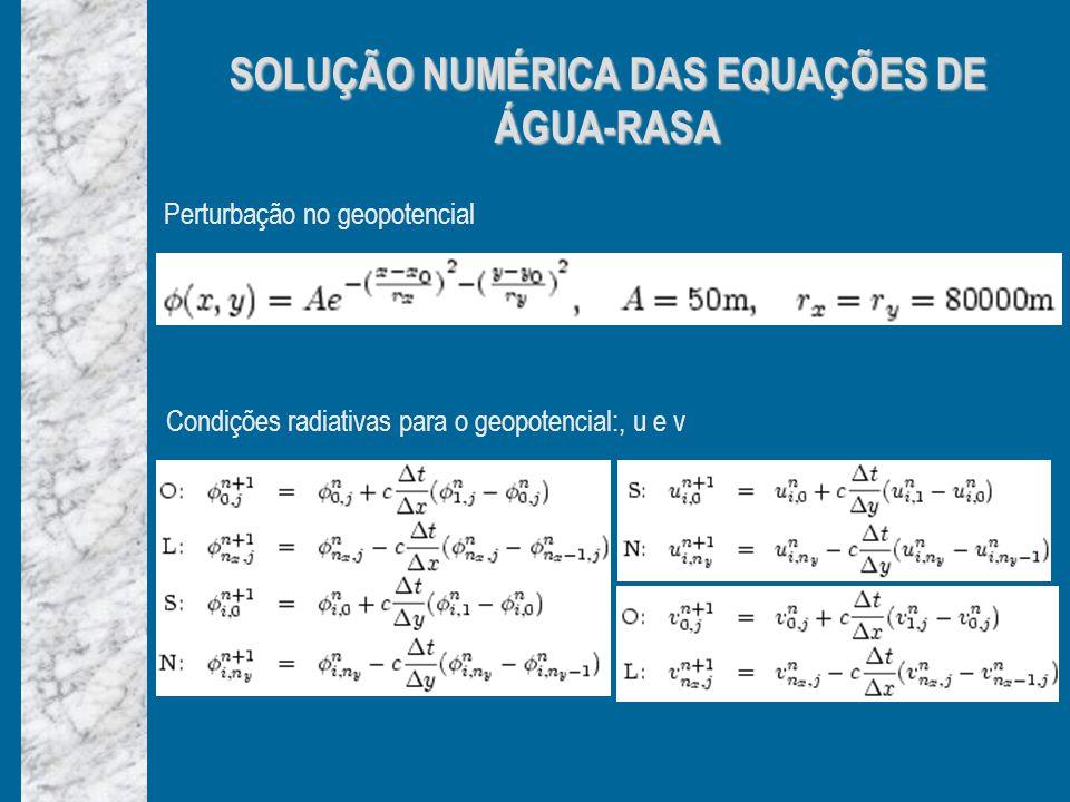 SOLUÇÃO NUMÉRICA DAS EQUAÇÕES DE ÁGUA-RASA Perturbação no geopotencial Condições radiativas para o geopotencial:, u e v
