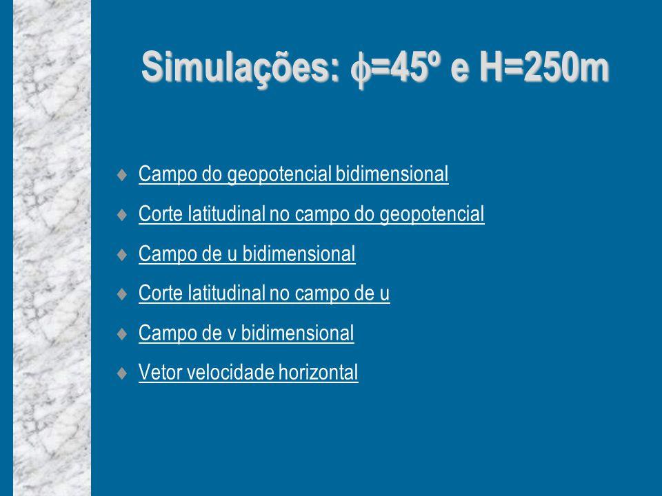 Simulações: =45º e H=250m Campo do geopotencial bidimensional Corte latitudinal no campo do geopotencial Campo de u bidimensional Corte latitudinal no campo de u Campo de v bidimensional Vetor velocidade horizontal