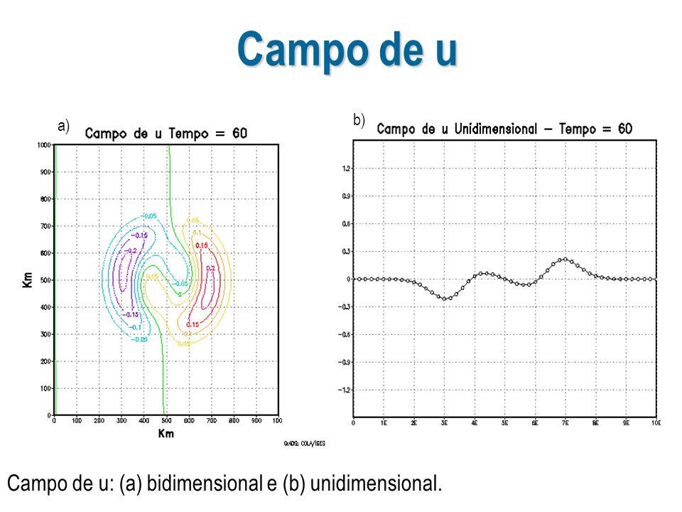 Campo de u Campo de u: (a) bidimensional e (b) unidimensional. a) b)