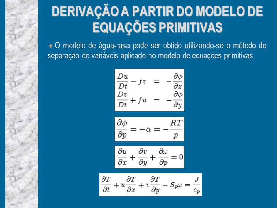 DERIVAÇÃO A PARTIR DO MODELO DE EQUAÇÕES PRIMITIVAS O modelo de água-rasa pode ser obtido utilizando-se o método de separação de variáveis aplicado no modelo de equações primitivas.