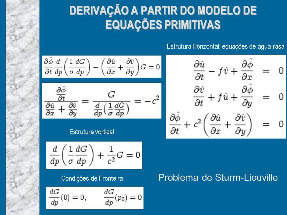 DERIVAÇÃO A PARTIR DO MODELO DE EQUAÇÕES PRIMITIVAS Estrutura Horizontal: equações de água-rasa Estrutura vertical Condições de Fronteira Problema de Sturm-Liouville