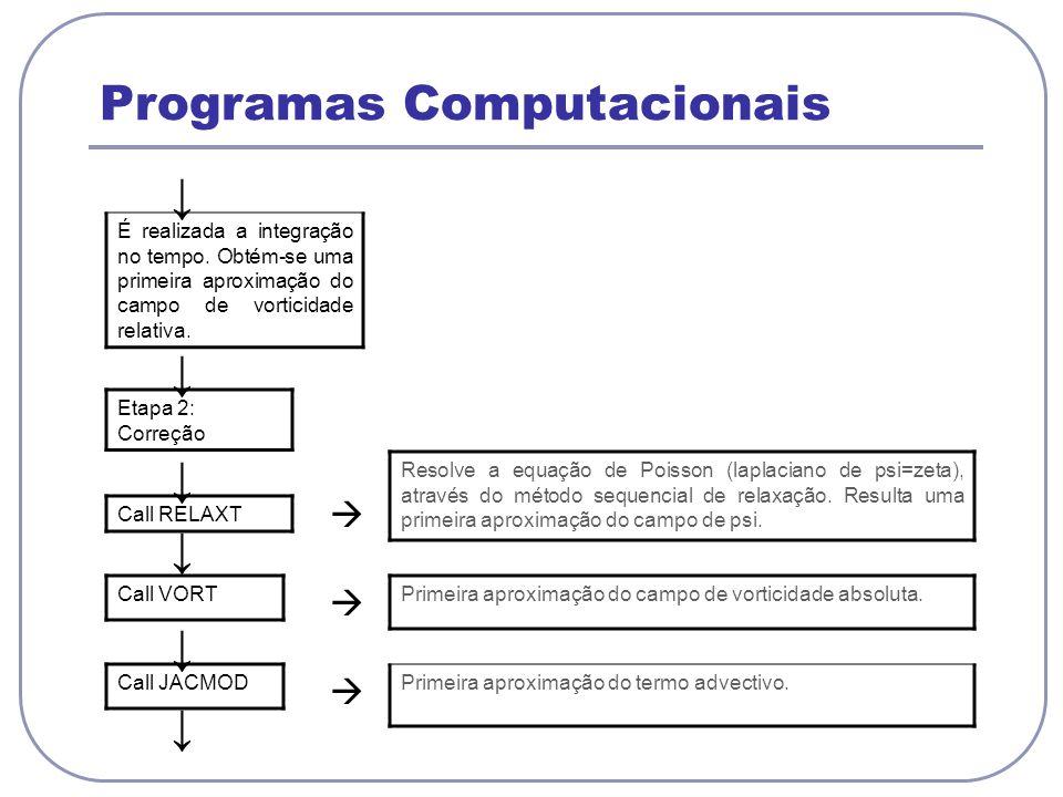 Programas Computacionais É realizada a integração no tempo. Obtém-se uma primeira aproximação do campo de vorticidade relativa. Etapa 2: Correção Call