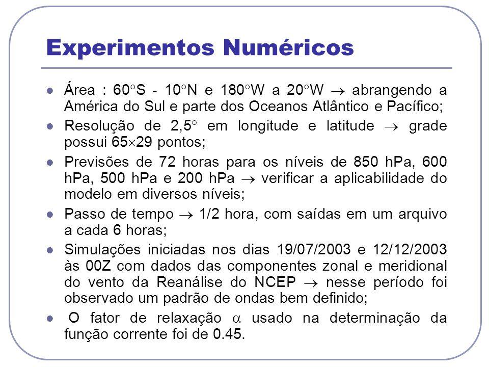 Experimentos Numéricos Área : 60 S - 10 N e 180 W a 20 W abrangendo a América do Sul e parte dos Oceanos Atlântico e Pacífico; Resolução de 2,5 em longitude e latitude grade possui 65 29 pontos; Previsões de 72 horas para os níveis de 850 hPa, 600 hPa, 500 hPa e 200 hPa verificar a aplicabilidade do modelo em diversos níveis; Passo de tempo 1/2 hora, com saídas em um arquivo a cada 6 horas; Simulações iniciadas nos dias 19/07/2003 e 12/12/2003 às 00Z com dados das componentes zonal e meridional do vento da Reanálise do NCEP nesse período foi observado um padrão de ondas bem definido; O fator de relaxação usado na determinação da função corrente foi de 0.45.