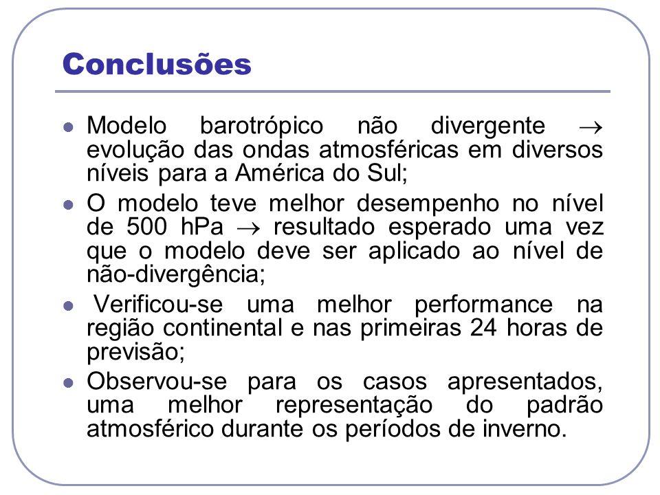 Conclusões Modelo barotrópico não divergente evolução das ondas atmosféricas em diversos níveis para a América do Sul; O modelo teve melhor desempenho