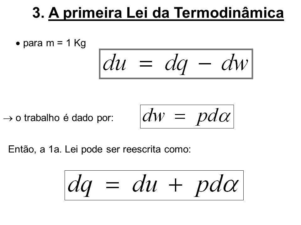 3.A primeira Lei da Termodinâmica o trabalhoé dado por: para m = 1 Kg Então, a 1a.