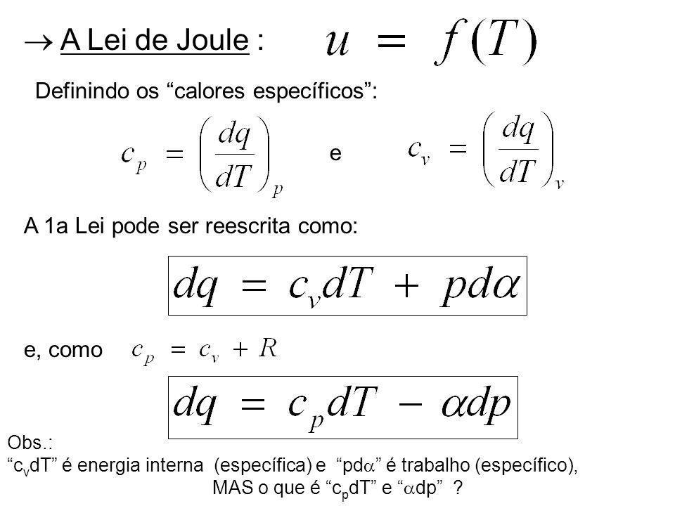 A Lei de Joule : Definindo os calores específicos: e A 1a Lei pode ser reescrita como: e, como Obs.: c v dT é energia interna (específica) e pd é trabalho (específico), MAS o que é c p dT e dp ?