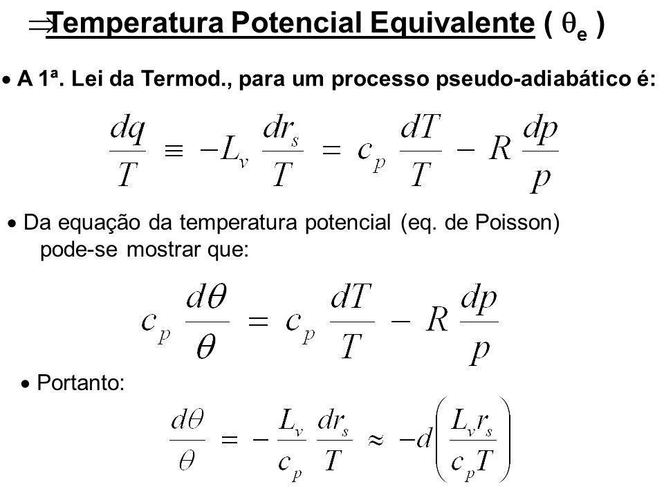 Temperatura Potencial Equivalente ( e ) Da equação da temperatura potencial (eq.
