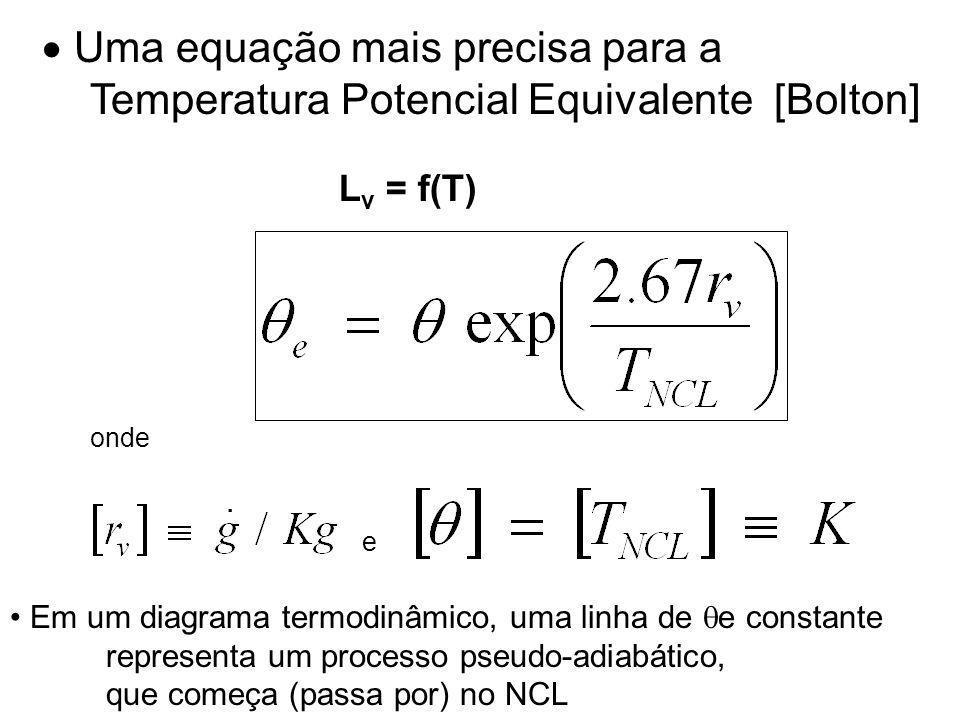 Uma equação mais precisa para a Temperatura Potencial Equivalente [Bolton] onde e.