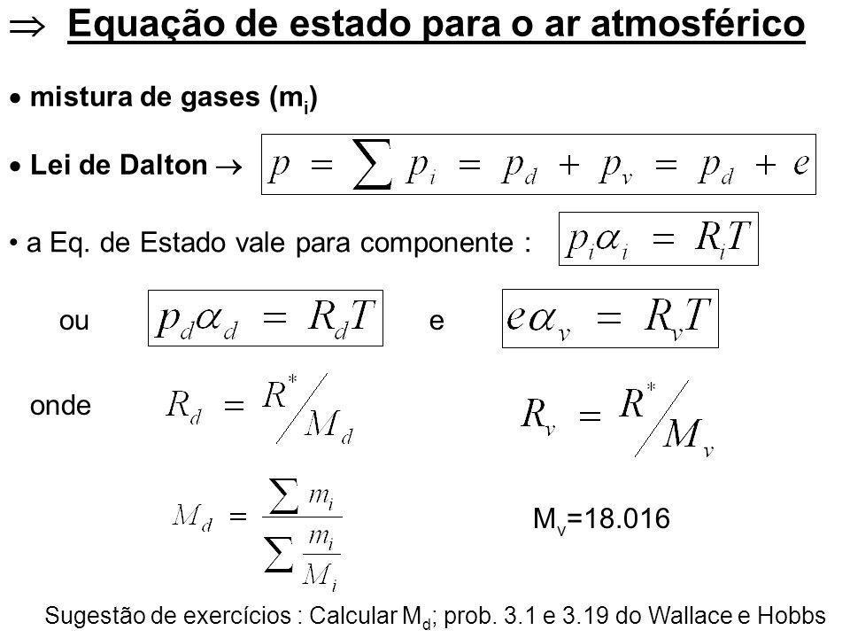 Equação de estado para o ar atmosférico mistura de gases (m i ) Lei de Dalton ou onde M v =18.016 Sugestão de exercícios : Calcular M d ; prob.