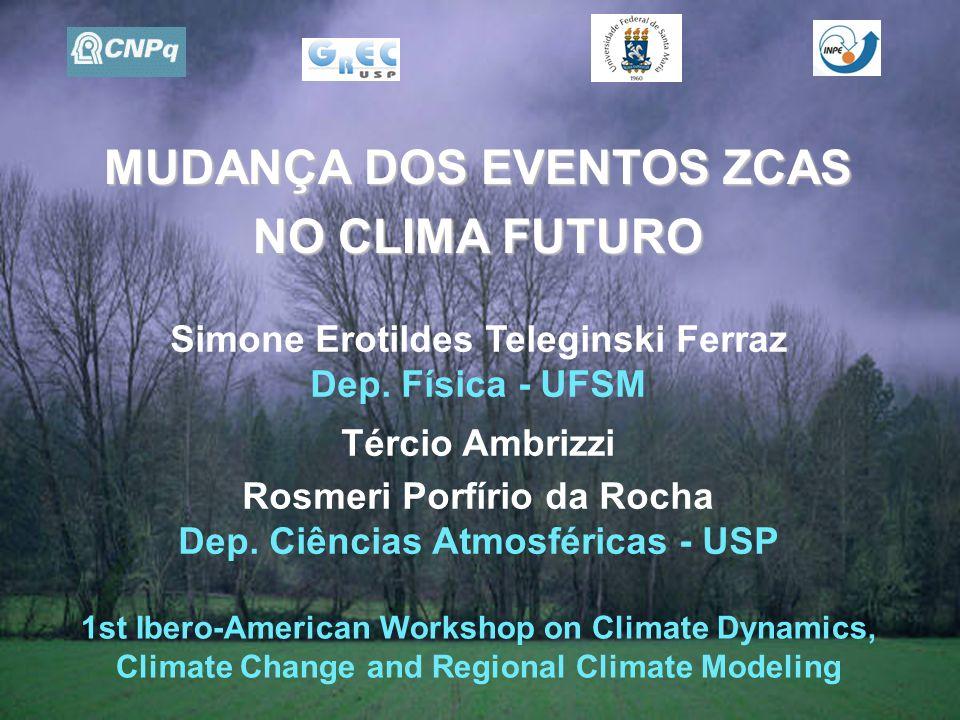 MUDANÇA DOS EVENTOS ZCAS NO CLIMA FUTURO Simone Erotildes Teleginski Ferraz Dep.
