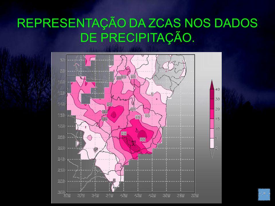 REPRESENTAÇÃO DA ZCAS NOS DADOS DE PRECIPITAÇÃO.
