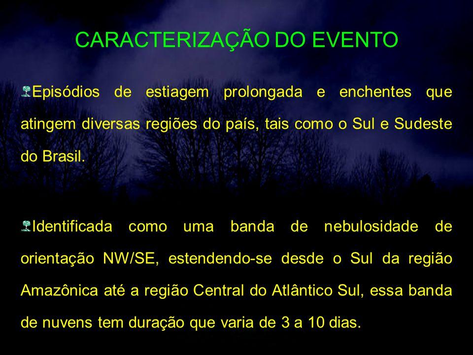 CARACTERIZAÇÃO DO EVENTO Episódios de estiagem prolongada e enchentes que atingem diversas regiões do país, tais como o Sul e Sudeste do Brasil.