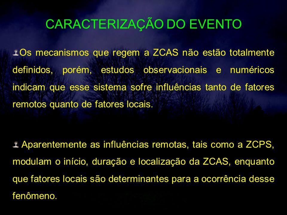 CARACTERIZAÇÃO DO EVENTO Os mecanismos que regem a ZCAS não estão totalmente definidos, porém, estudos observacionais e numéricos indicam que esse sistema sofre influências tanto de fatores remotos quanto de fatores locais.
