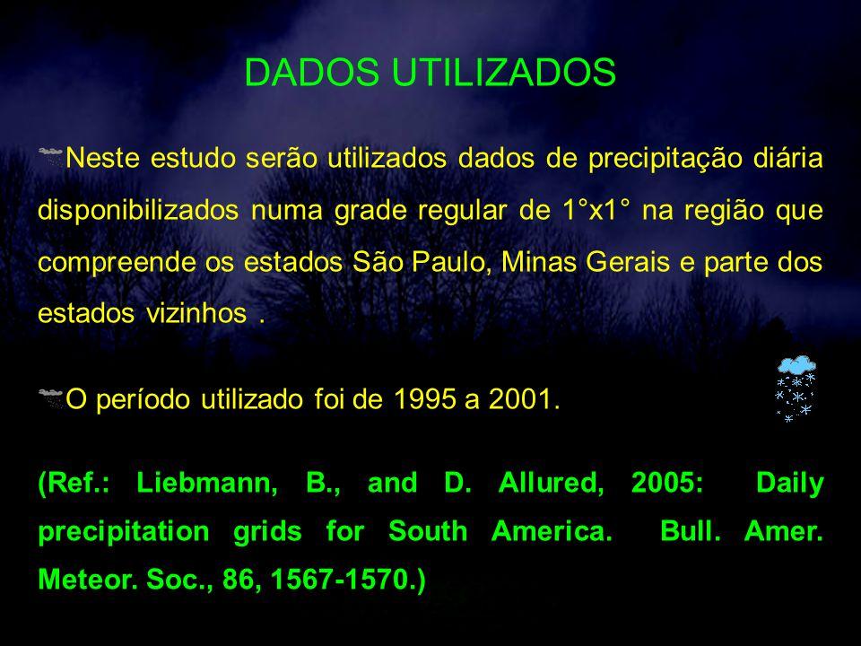 DADOS UTILIZADOS Neste estudo serão utilizados dados de precipitação diária disponibilizados numa grade regular de 1°x1° na região que compreende os estados São Paulo, Minas Gerais e parte dos estados vizinhos.