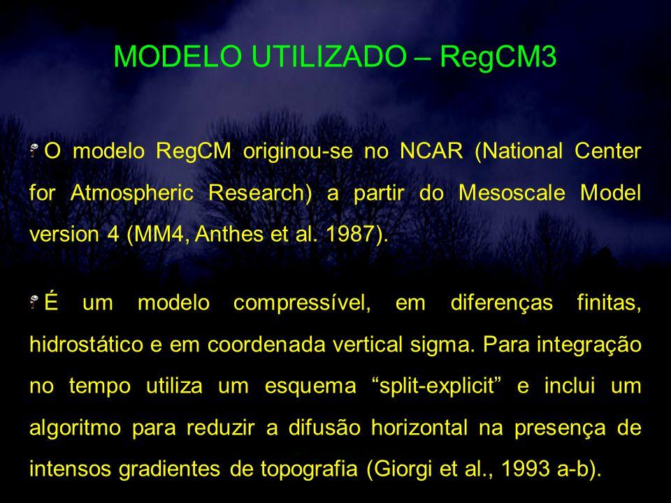 MODELO UTILIZADO – RegCM3 O modelo RegCM originou-se no NCAR (National Center for Atmospheric Research) a partir do Mesoscale Model version 4 (MM4, Anthes et al.