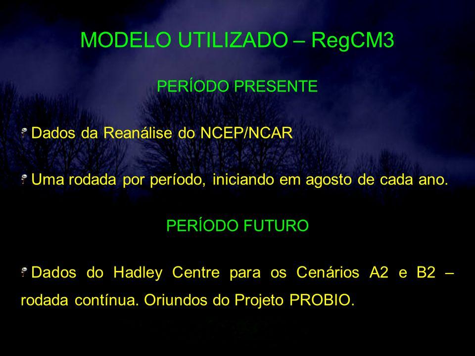MODELO UTILIZADO – RegCM3 PERÍODO PRESENTE Dados da Reanálise do NCEP/NCAR Uma rodada por período, iniciando em agosto de cada ano.