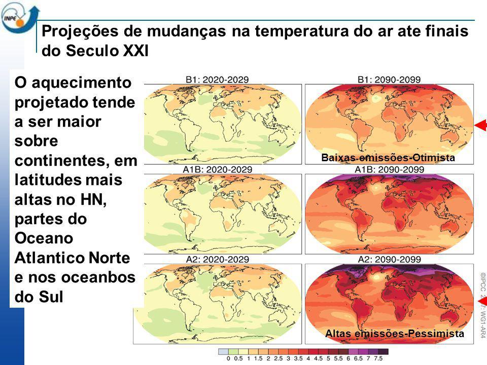 O aquecimento projetado tende a ser maior sobre continentes, em latitudes mais altas no HN, partes do Oceano Atlantico Norte e nos oceanbos do Sul Pro