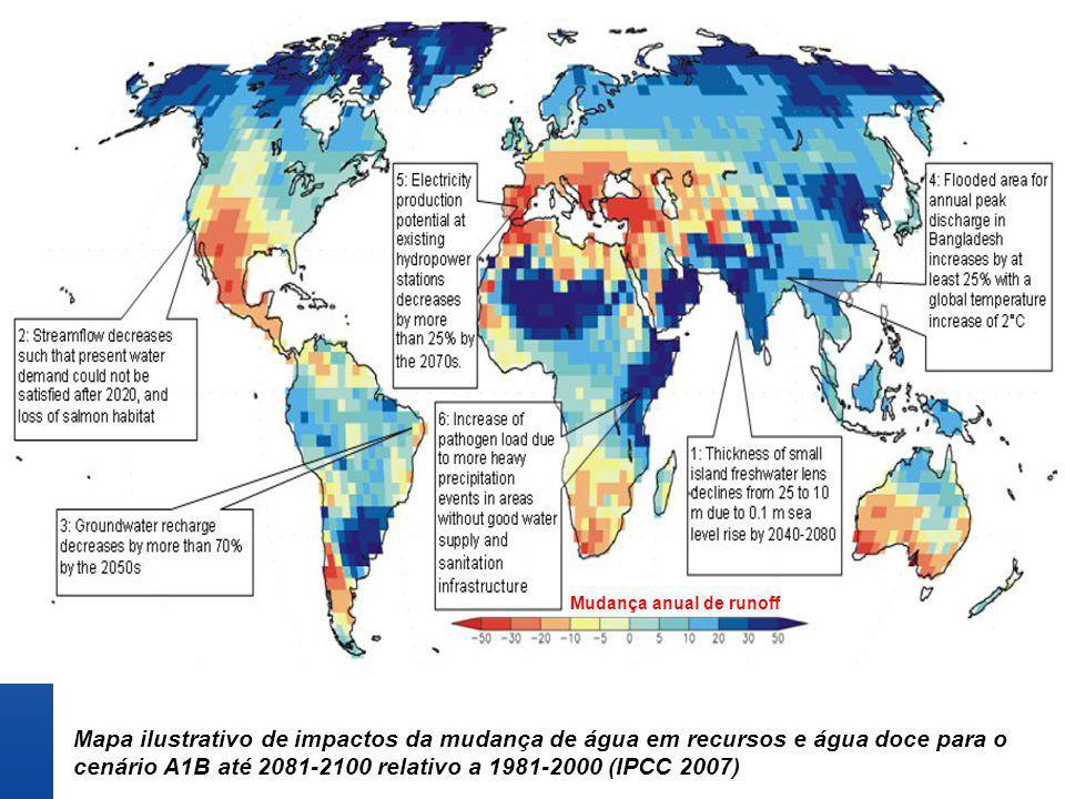 Mapa ilustrativo de impactos da mudança de água em recursos e água doce para o cenário A1B até 2081-2100 relativo a 1981-2000 (IPCC 2007) Mudança anua