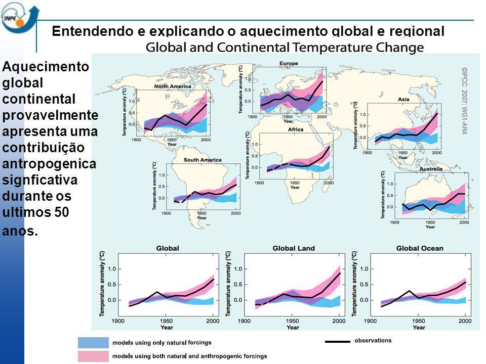 Entendendo e explicando o aquecimento global e regional Aquecimento global continental provavelmente apresenta uma contribuição antropogenica signfica