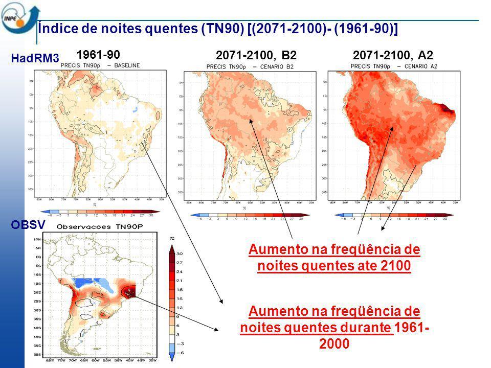 1961-90 2071-2100, B22071-2100, A2 Aumento na freqüência de noites quentes ate 2100 Índice de noites quentes (TN90) [(2071-2100)- (1961-90)] Aumento n