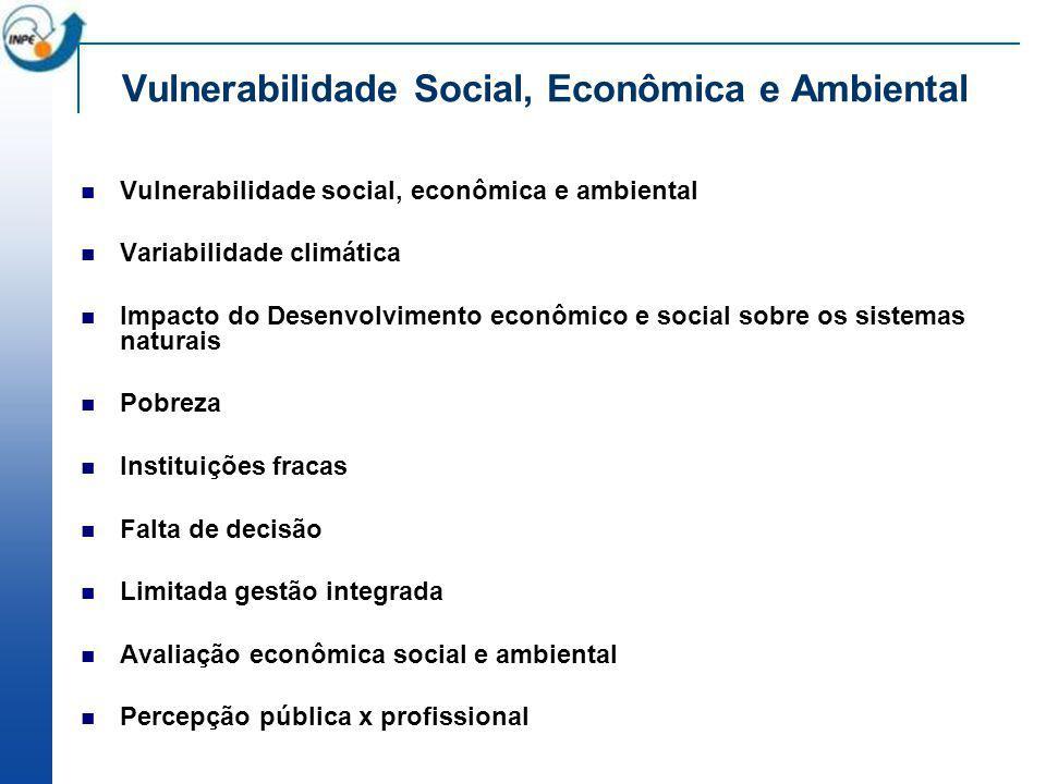 Vulnerabilidade Social, Econômica e Ambiental Vulnerabilidade social, econômica e ambiental Variabilidade climática Impacto do Desenvolvimento econômi