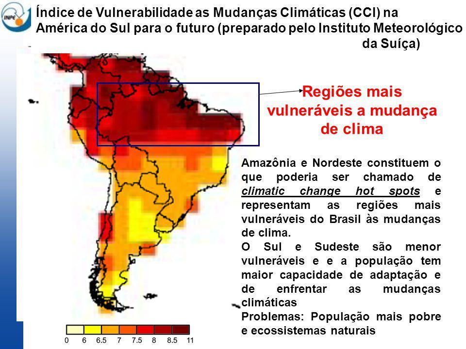 Índice de Vulnerabilidade as Mudanças Climáticas (CCI) na América do Sul para o futuro (preparado pelo Instituto Meteorológico da Suíça) Regiões mais