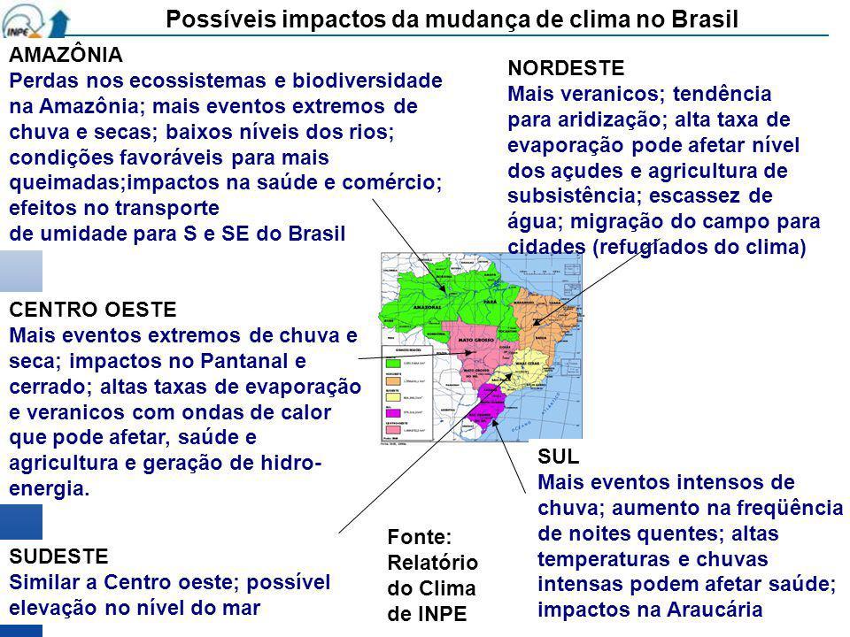 AMAZÔNIA Perdas nos ecossistemas e biodiversidade na Amazônia; mais eventos extremos de chuva e secas; baixos níveis dos rios; condições favoráveis pa
