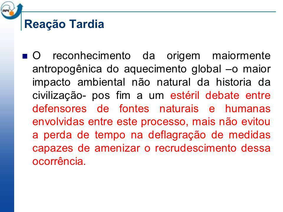 Reação Tardia O reconhecimento da origem maiormente antropogênica do aquecimento global –o maior impacto ambiental não natural da historia da civiliza