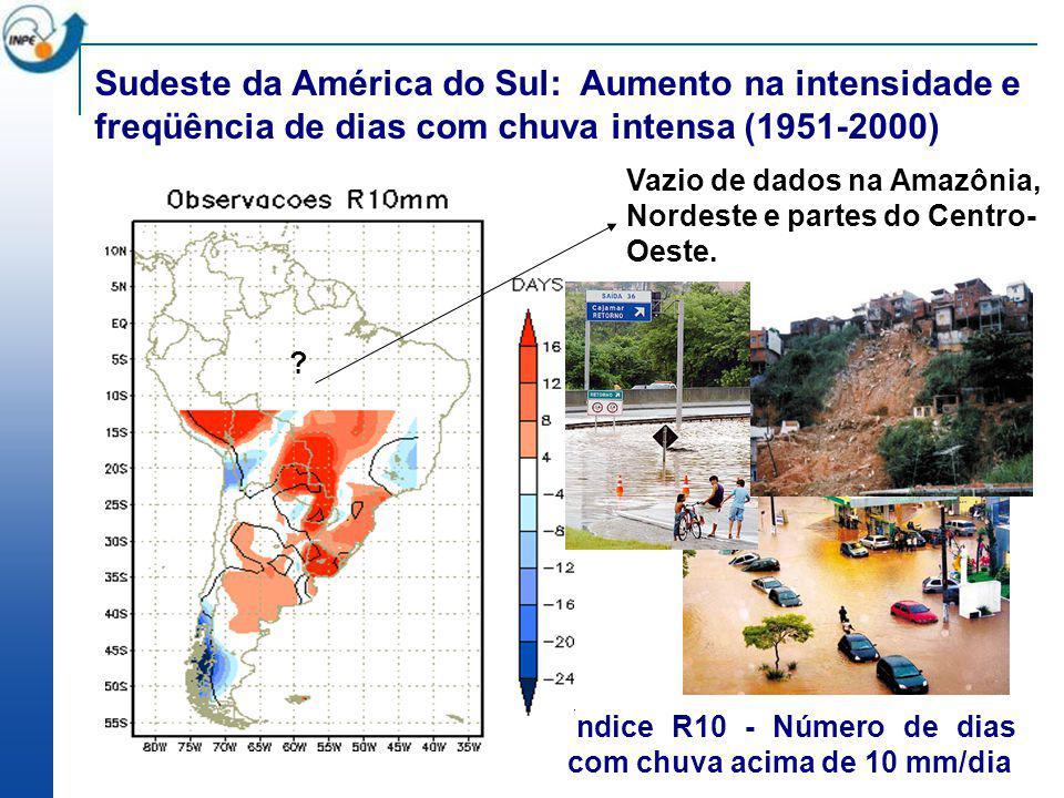 Aumento na freqüência de chuvas intensas até 2100 Índice R10 (chuvas intensas) presente (1961-90) e futuro (2071-2100) Aumento na freqüência de chuvas intensas (acima de 10 mm) entre 1961-2000 OBSV 1961-90 B2 2071-2100A2 2071-2100 HadRM3 Altas emissõesBaixas emissões
