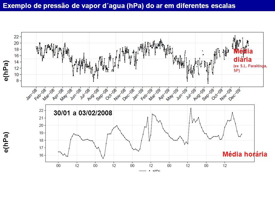 São Luiz do Paraitinga, Serra do Mar, SP e(hPa) Média horária 30/01 a 03/02/2008 Exemplo de pressão de vapor d´agua (hPa) do ar em diferentes escalas