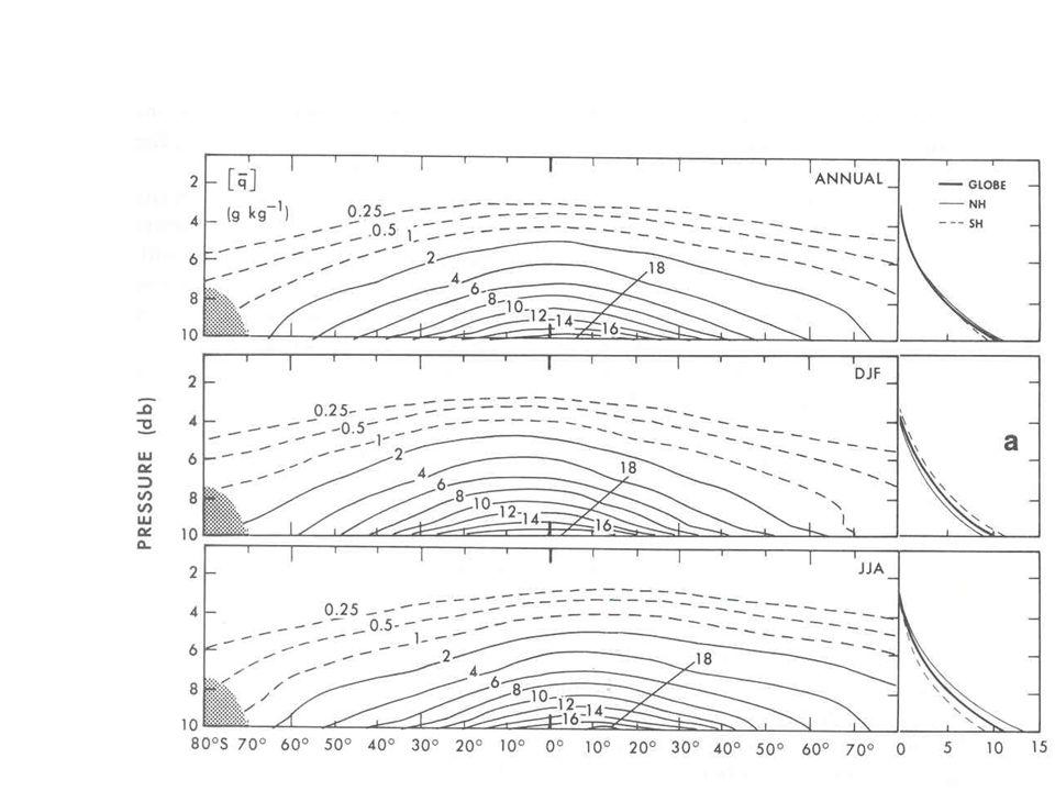 Estrutura vertical umidade 50% abaixo de 850 mb 90% abaixo de 500 mb ~100% abaixo de 400 mb Umidade específica média zonal da atmosfera (g/kg)