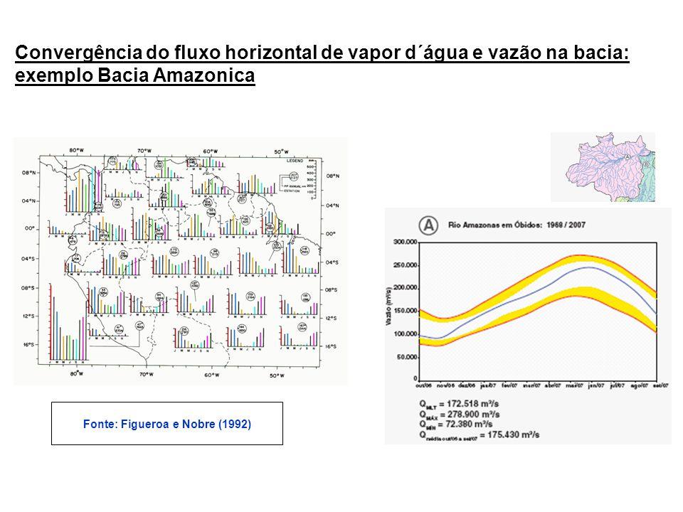 Convergência do fluxo horizontal de vapor d´água e vazão na bacia: exemplo Bacia Amazonica Fonte: Figueroa e Nobre (1992)