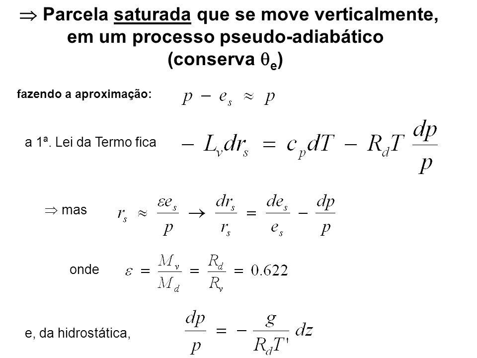 Parcela saturada que se move verticalmente, em um processo pseudo-adiabático (conserva e ) a 1ª. Lei da Termo fica mas onde e, da hidrostática, fazend