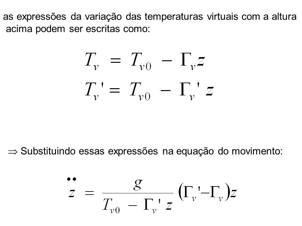 as expressões da variação das temperaturas virtuais com a altura acima podem ser escritas como: Substituindo essas expressões na equação do movimento: