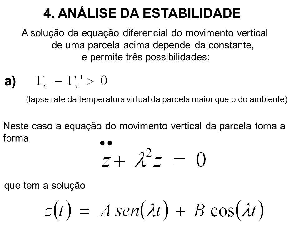 a) (lapse rate da temperatura virtual da parcela maior que o do ambiente) que tem a solução Neste caso a equação do movimento vertical da parcela toma