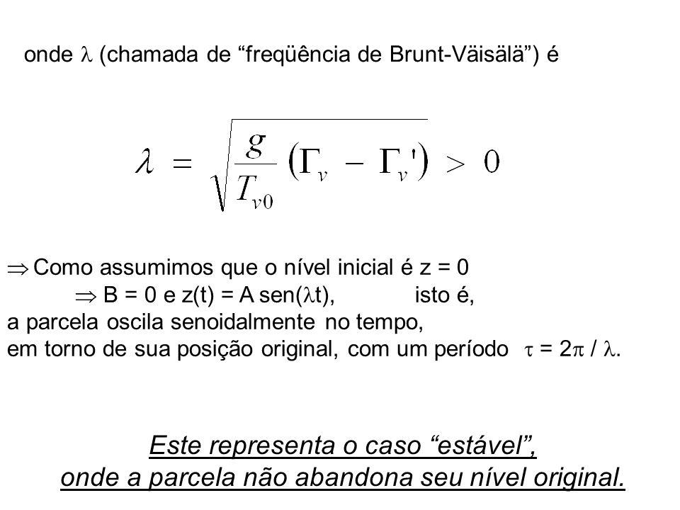 onde (chamada de freqüência de Brunt-Väisälä) é Como assumimos que o nível inicial é z = 0 B = 0 e z(t) = A sen( t), isto é, a parcela oscila senoidal